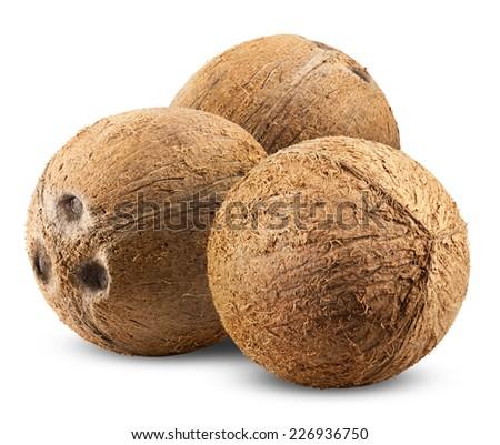 three ripe coconut isolated on white background - stock photo
