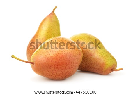 Three ripe pears isolated on white - stock photo