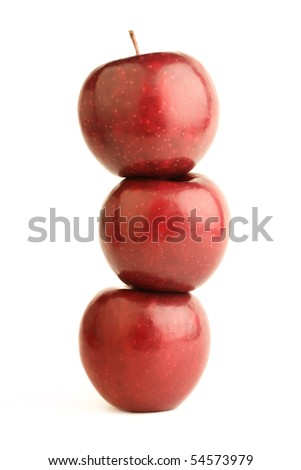 Three ripe red apples isolated on the white background