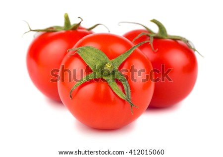 Three ripe red tomatoes isolated on white background - stock photo