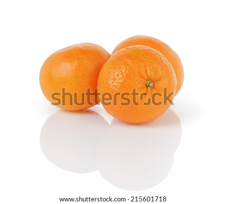 three ripe tangerines, isolated on white background - stock photo