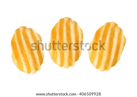 three rippled potato chips, isolated on white - stock photo