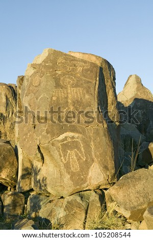 Three Rivers Petroglyph National Site, South of Carrizozo, New Mexico - stock photo