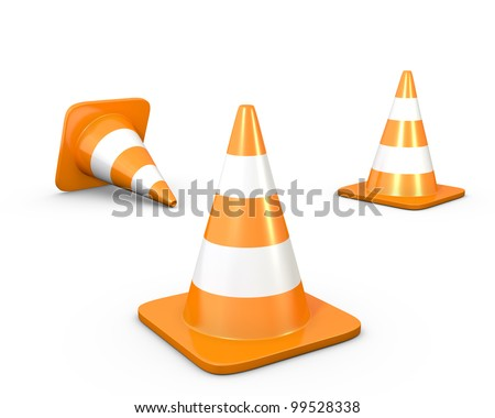Three road cones, isolated on white background - stock photo