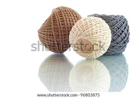 Three rope ball on a white background - stock photo