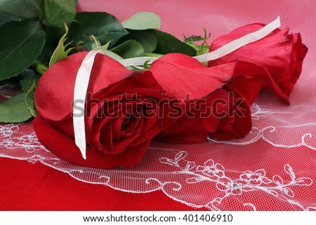 Three roses on white lace with a white ribbon - stock photo