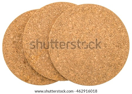 Three Round cork boards on white background, Isolated with Clipping Path.