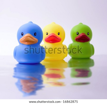 three rubber ducks with reflection - stock photo