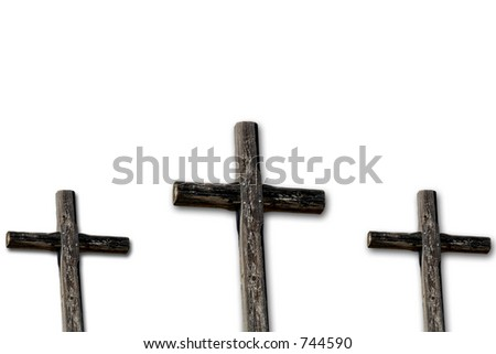 Three rugged crosses isolated on white. - stock photo