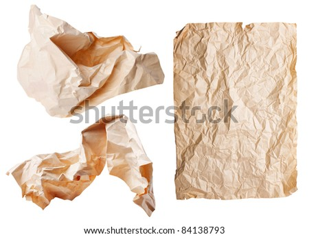 Three rumpled a sheet of paper isolated on white background