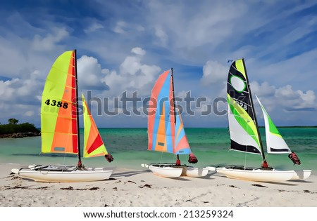 Three sail boats, catamarans, on tropical beach with blue water background illustration - stock photo