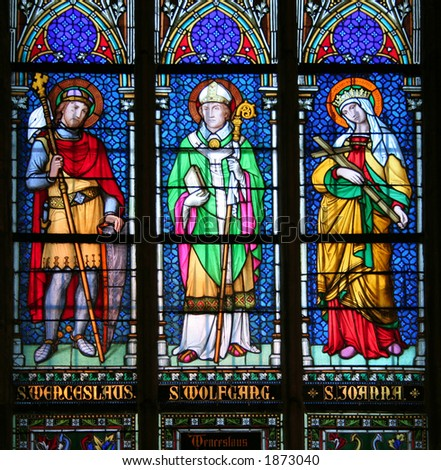 Three saints: Saint Wenceslaus, Czech patron; Saint Wolfgang, German patron and Saint Joanna