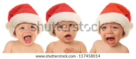 Three Santa Christmas babies, happy, serious and sad.