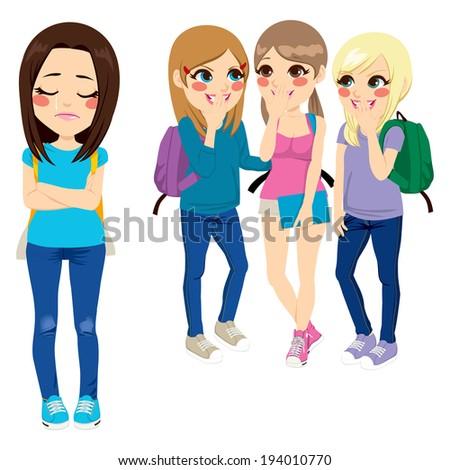 Three school girls bullying poor sad girl classmate - stock photo