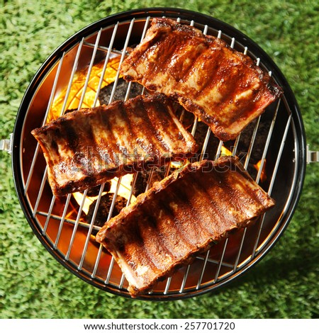 Three seasoned and marinated portions of spicy spare ribs grilling on a fire in a portable barbecue outdoors on grass, overhead view - stock photo