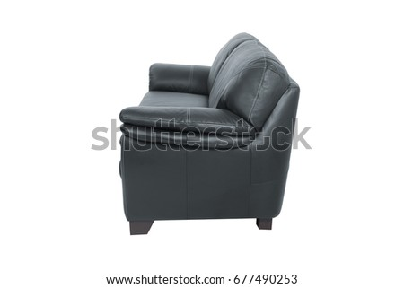 three seats cozy black leather sofa isolated on white background