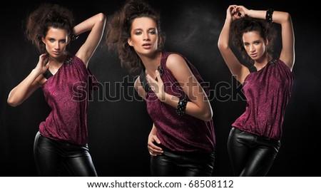 Three sensual brunettes posing - stock photo