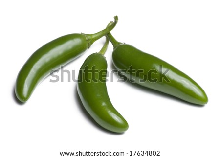 Three serrano peppers isolated on white background - stock photo