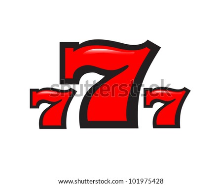 three sevens on a white background - stock photo