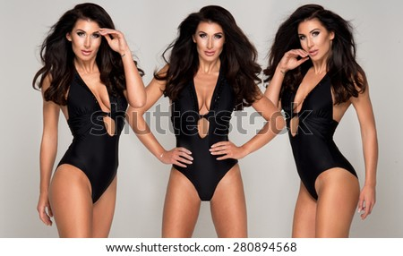 Three sexy attractive brunette women posing in fashionable swimsuit in studio - stock photo
