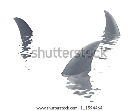 three sharks fin  on a white background - stock photo