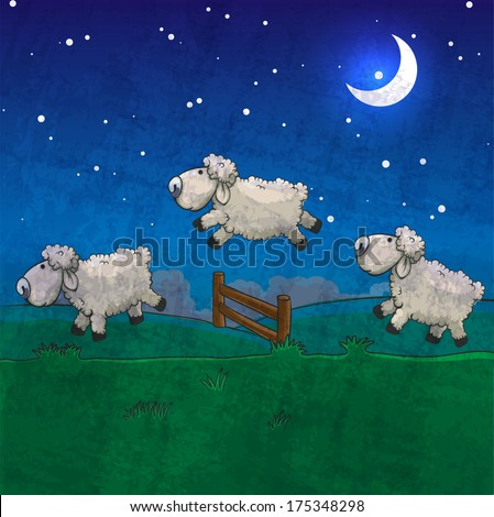 Three sheep  jumping over the fence. Count them to sleep. - stock photo