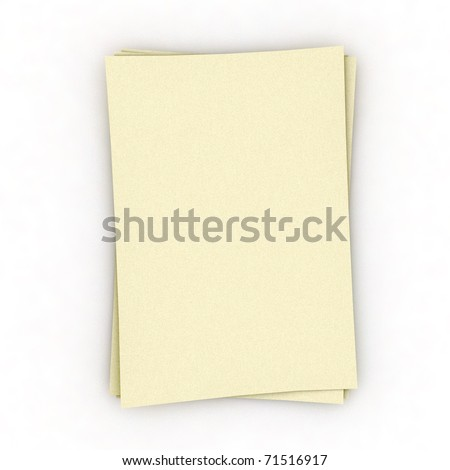 Three  sheets of memo papers isolated
