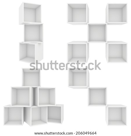 three shelves on the diagonal. 3d render. - stock photo