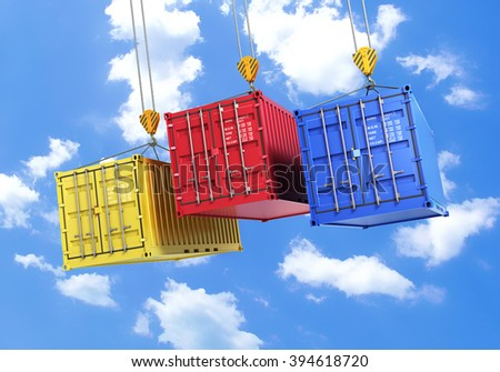 three shipping containers during transport on a sky background - stock photo