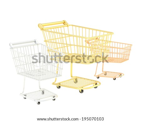 Three shopping carts composition of golden, silver and bronze ones isolated over the white background