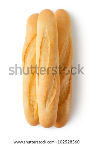 Three short baguettes. Top view. Isolated on a white. - stock photo