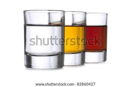 Three shots with liqueur
