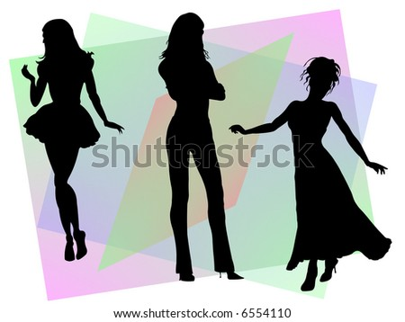 Three silhouettes of glamour women poses against a multy colored background.