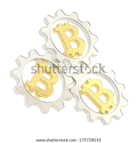 Three silver cogwheel gears with a golden bitcoin peer-to-peer crypto currency signs inside composition isolated over white background - stock photo