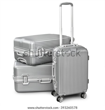 three silver suitcase isolated on white background - stock photo