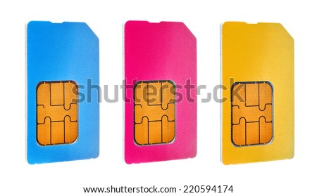 three sim cards isolated on white background - stock photo