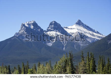 Three Sister Mountains, Canmore, Alberta, Canada - stock photo