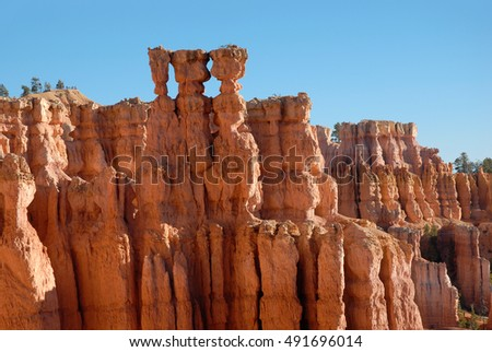 Three Sisters hoodoo formations in Bryce Canyon National Park Utah.