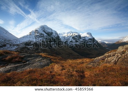 Three Sisters in Glencoe. - stock photo