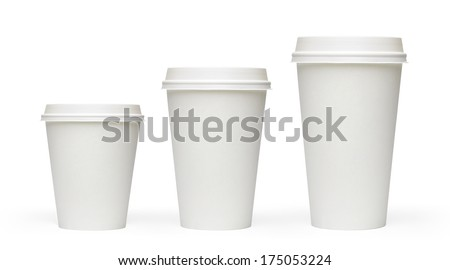 Three sizes blank take away coffee cups isolated on white bacground including clipping path - stock photo