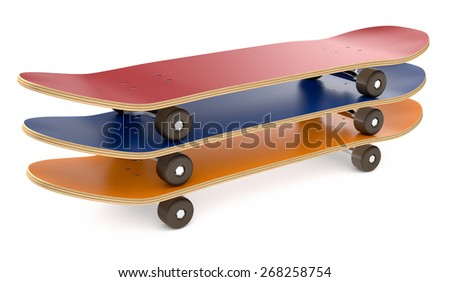 three skateboards in different colors on white background (3d render) - stock photo