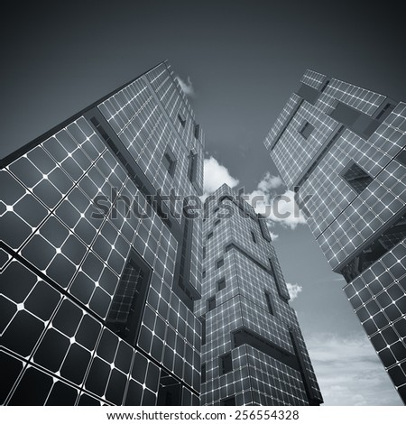 Three skyscrapers. My architecture and 3d model - stock photo