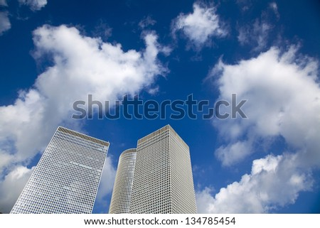 Three skyscrapers. This skyscraper triplet is one of the most iconic place in Tel Aviv, Israel. - stock photo