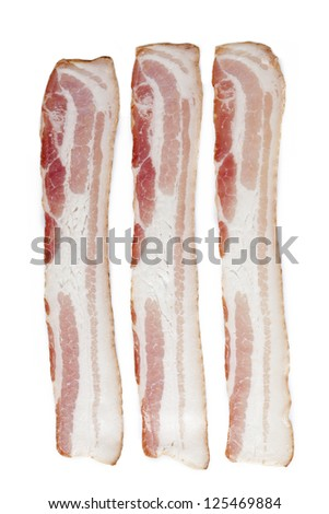 Three slice of bacon isolated over white background. - stock photo