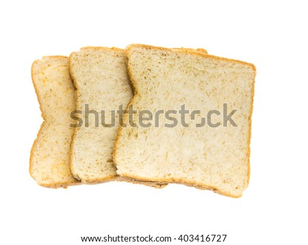 three slice of white bread on white background