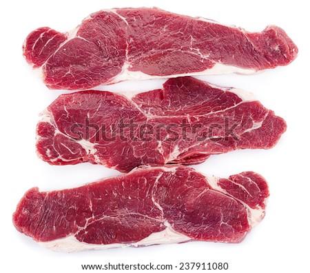 Three Slices of Entrecote  - stock photo