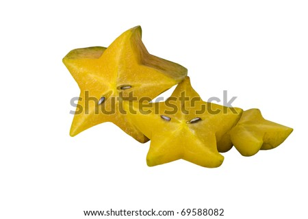 Three Slices of Star Fruit Isolated on White - stock photo
