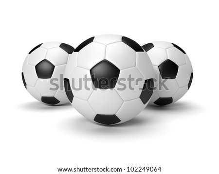 Three soccer balls on the white background - stock photo