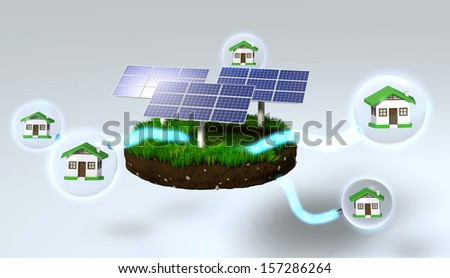 three solar panels on a grassy rounded clod of earth are supplying homes inside of the spheres, with some energy beams