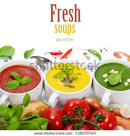 Three soups are located in the form of a traffic light (with easy removable sample text) - stock photo